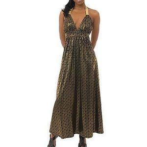 COOGI Goddess Gold Halter Top Maxi Boho Dress
